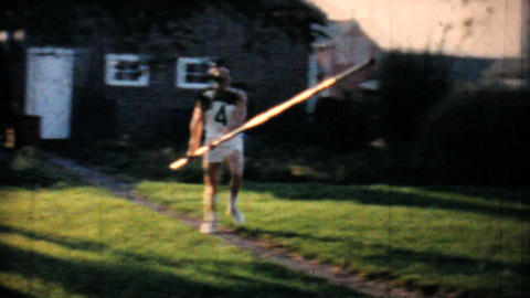 Backyard Pole Vaulting Practise 1962 Vintage 8mm film Stock Video Footage