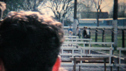 Young Men Running Hurdles Track And Field 1962 Vintage... Stock Video Footage