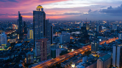 BANGKOK CITY SUNSET TIMELAPSE Stock Video Footage