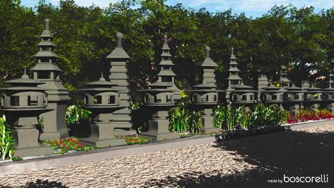 Japanese Stone Lanterns 3D model 3D Model