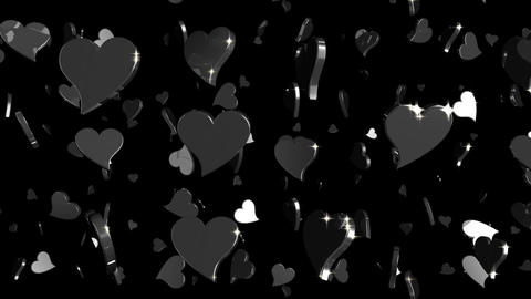 Looping Silver and Gold Hearts Falling Animation