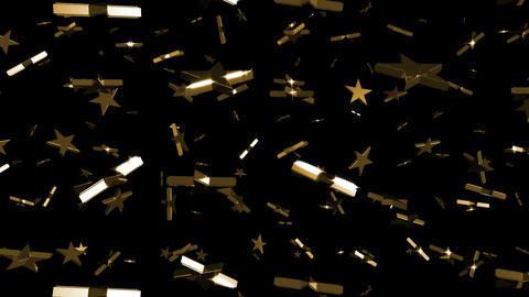 Looping Silver and Gold Stars Falling Stock Video Footage