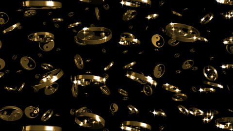 Looping Silver and Gold Yin-Yang Symbols Falling Stock Video Footage