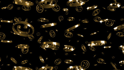 Looping Silver and Gold Smileys Falling Stock Video Footage