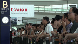 People are waiting for their relatives at Hong Kon Stock Video Footage