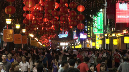Shopping street at night in Guangzhou, China Footage