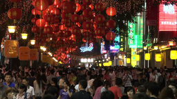 Shopping street at night in Guangzhou, China Stock Video Footage