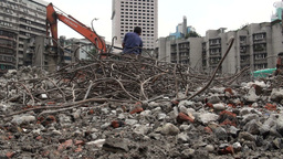 China, construction, demolition, site, workers, ci Footage