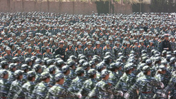 Marching students in China Stock Video Footage