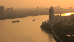 Beautiful sunset over Guangzhou and the Pearl rive Stock Video Footage