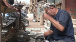 Making traditional artefacts, using a hammer Stock Video Footage
