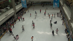 Overview of an indoor ice rink in China Footage
