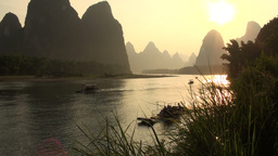 Beautiful sunset over Li river and karst scenery Stock Video Footage
