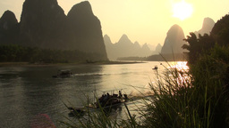 Beautiful sunset over Li river and karst scenery Footage