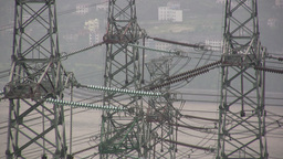 Power Lines In China stock footage