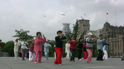 Martial arts (tai chi) in Shanghai Stock Video Footage
