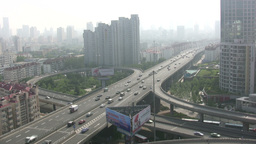 Highway and skyline of Qingdao in China Stock Video Footage