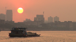 Guangzhou sunset over Pearl river, China Stock Video Footage