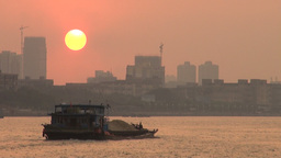 Guangzhou Sunset Over Pearl River, China stock footage