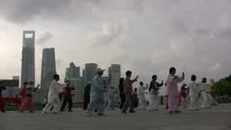 Skyline Shanghai, tai chi Footage