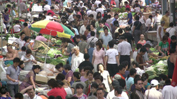 Fruit and vegetable market in Chinese city Footage