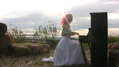 Bride and piano Stock Video Footage