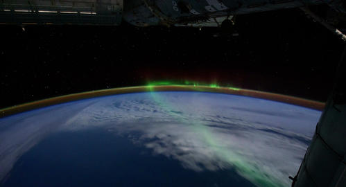 4 K Space Station 05 Aurora Borealis Stock Video Footage