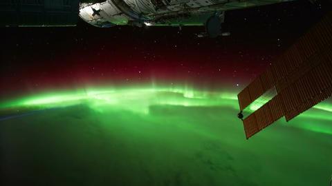 Space Station 04 Aurora Borealis Stock Video Footage