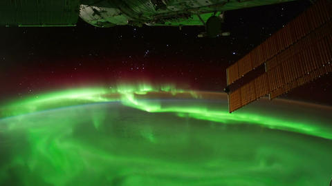 Space   Station  04  Aurora   Borealis stock footage