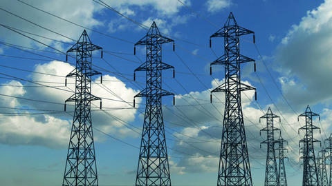 Construction of high voltage towers Animation