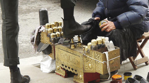 Shoeshiner At Istanbul Street, Turkey stock footage