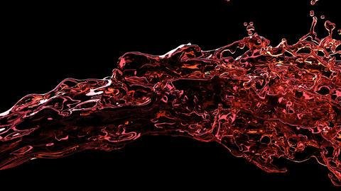 Red liquid stream jet in 3d style on black background Liquid splash Water Animation