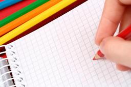 Close-up of pencil and agenda フォト