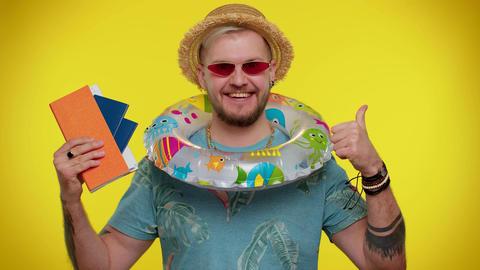 Summer vacation, journey, traveler tourist bearded adult man celebrating Live Action
