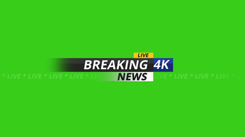 Breaking news logo 4K on green screen Animation