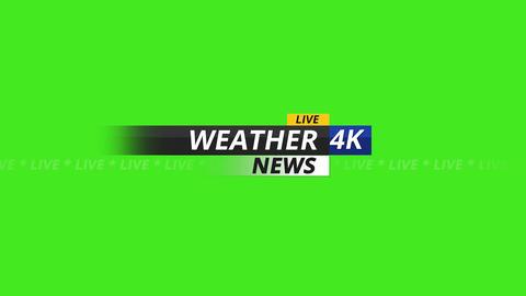 Weather news logo 4K on green screen Animation