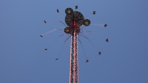 Thrill Rides At Amusement Park Live Action