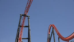 Thrilling Roller Coaster Ride At Amusement Park Live Action