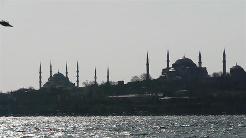 Two mosques from a sea in Istanbul, Turkey Stock Video Footage