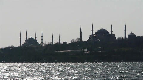 Two mosques from a sea in Istanbul, Turkey Footage