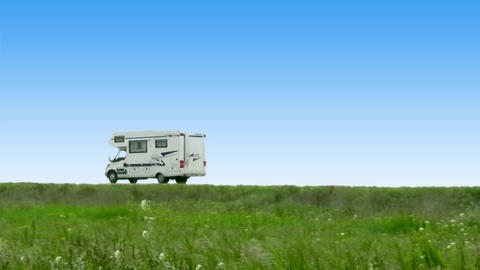 Camper leaves Stock Video Footage