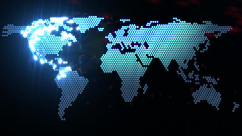 digital world map Stock Video Footage