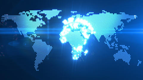 Digital World Map stock footage