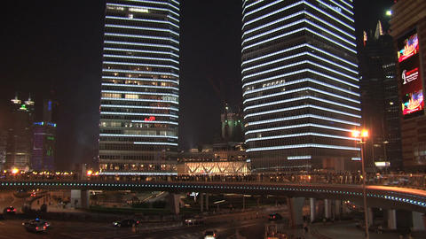 Skyscrapers tilt downtown Shanghai Stock Video Footage