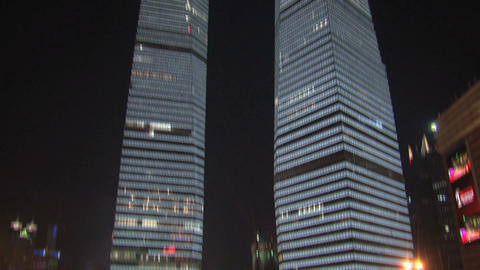 Skyscrapers tilt downtown Shanghai Footage