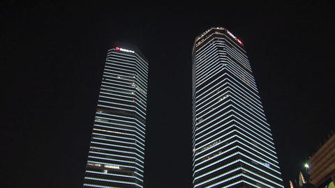 Skyscrapers tilt downtown Shanghai Stock Video Footage