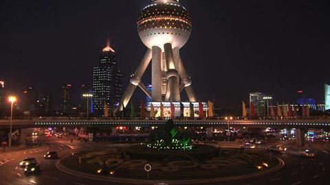 Oriental Pearl Tower traffic Stock Video Footage