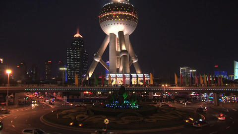 Oriental Pearl Tower traffic Footage