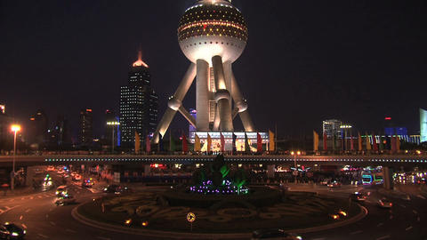 Oriental Pearl Tower traffic Stock Video Footage