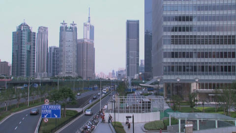 Pan Skyscrapers Downtown Shanghai stock footage